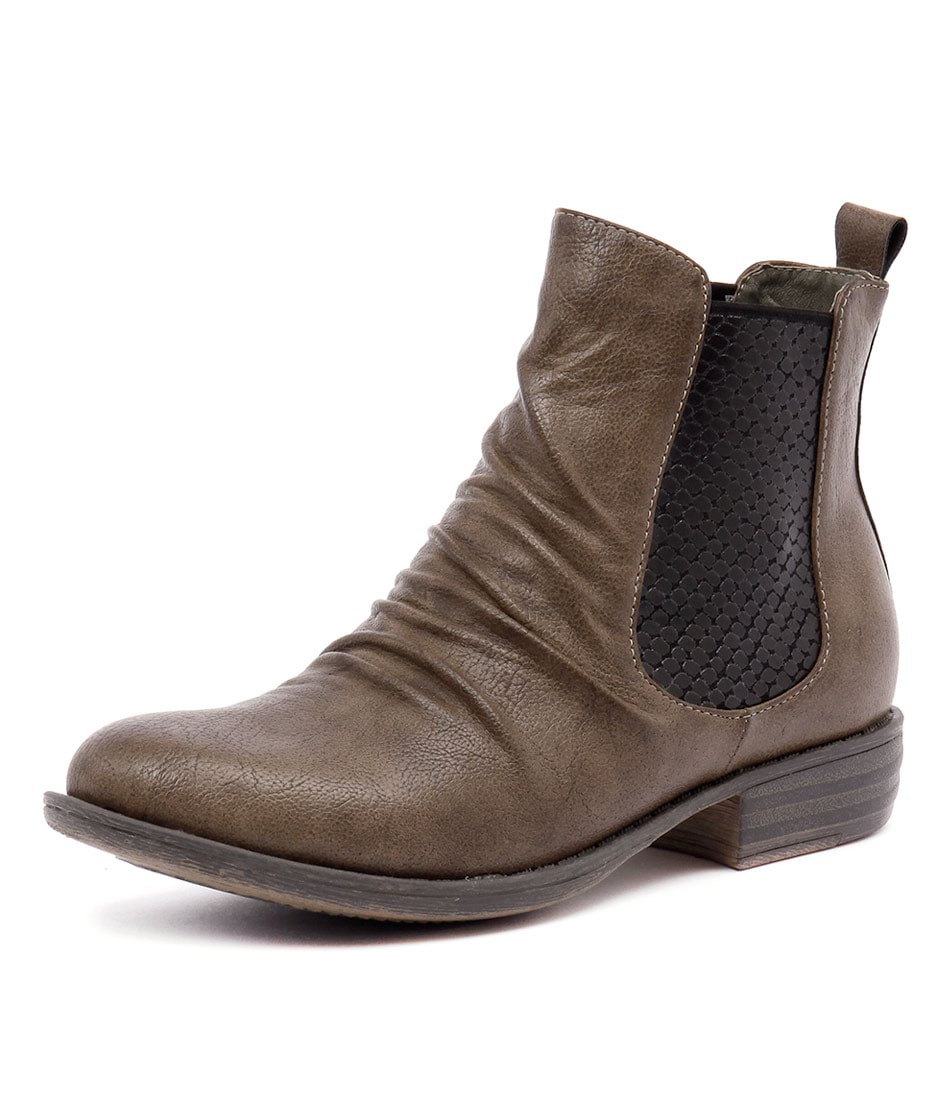 I Love Billy Welina Taupe Smooth-Lizard Elastic Boots