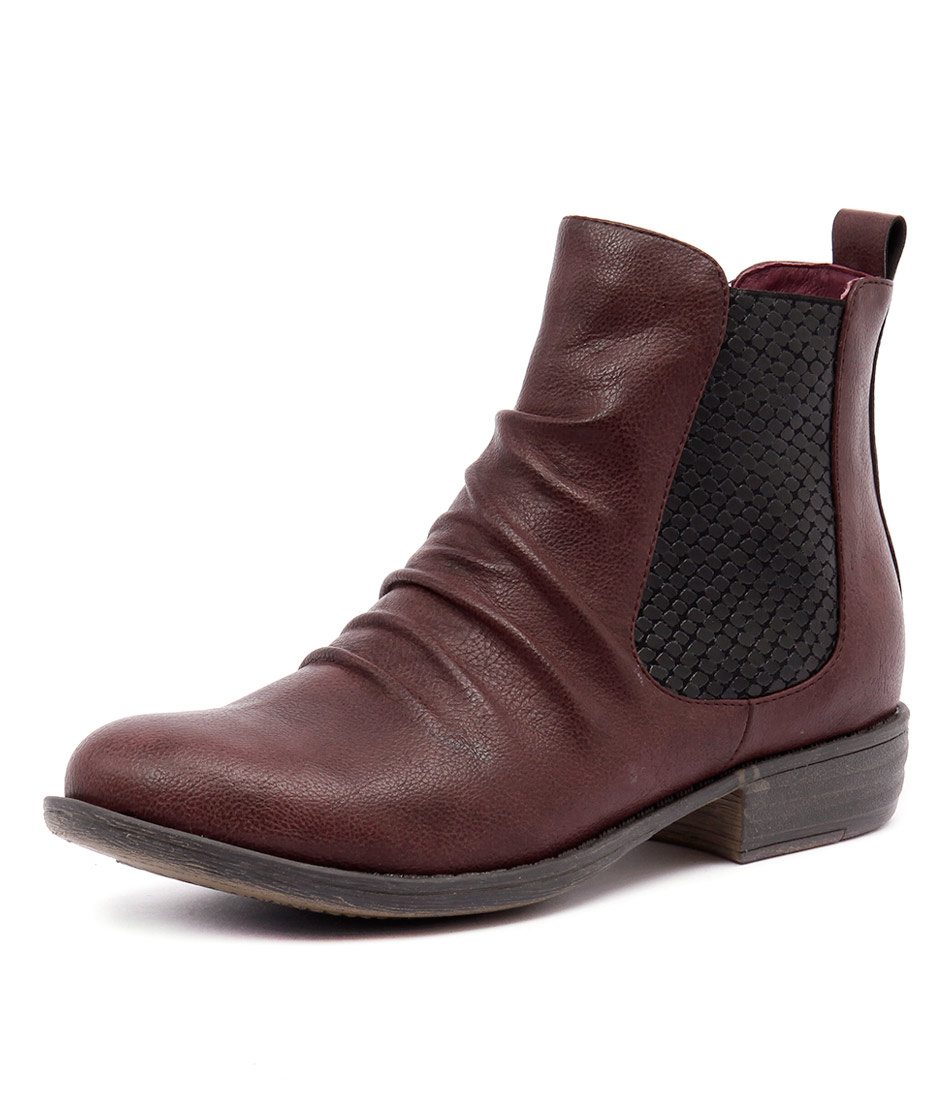 I Love Billy Welina Wine Smooth-Lizard Elastic Boots