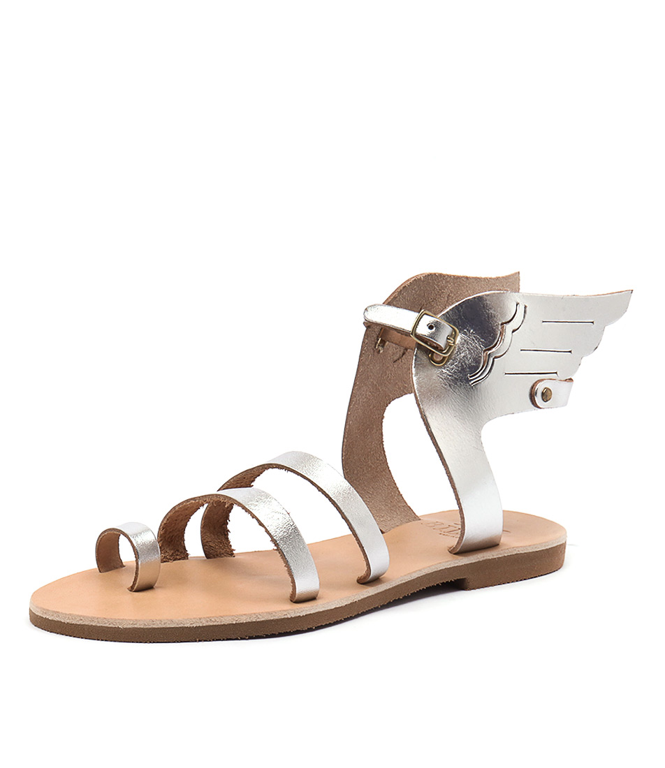 I Love Billy Greece Kailey All Silver Leather Sandals