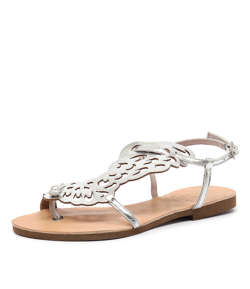 I Love Billy Greece Kairos All Silver Leather Sandals