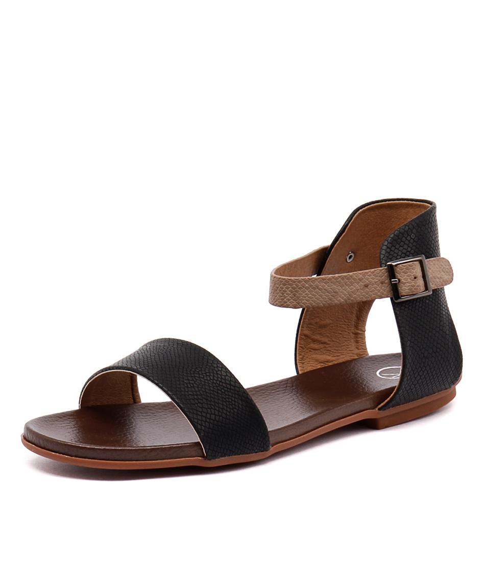 Ko Fashion Ronnie Black-Taupe Sandals