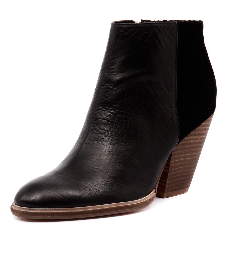 Mollini Agassi Black Leather-Black Cut Suede Boots