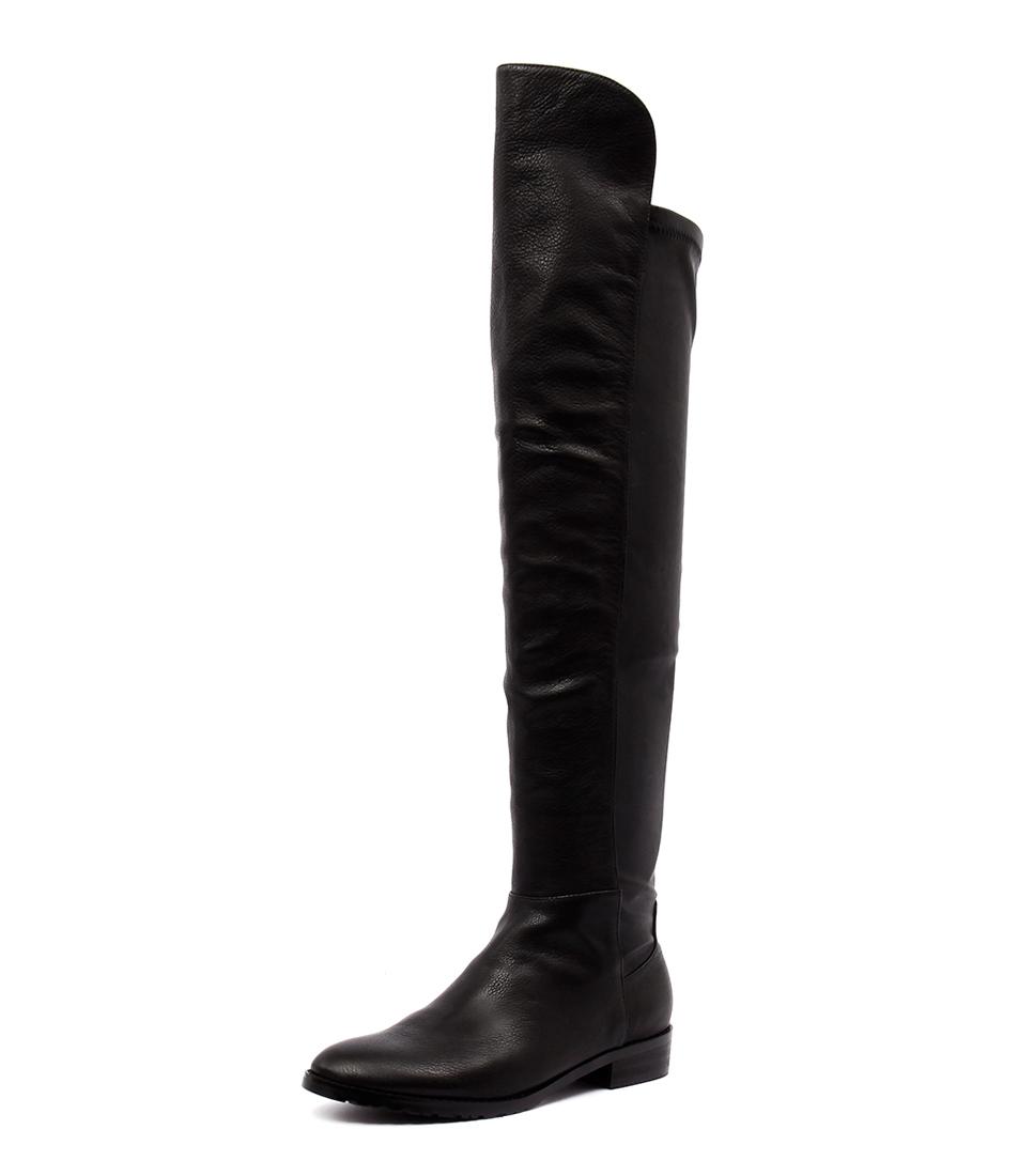 Mollini Possy Black Leather Stretch Boots