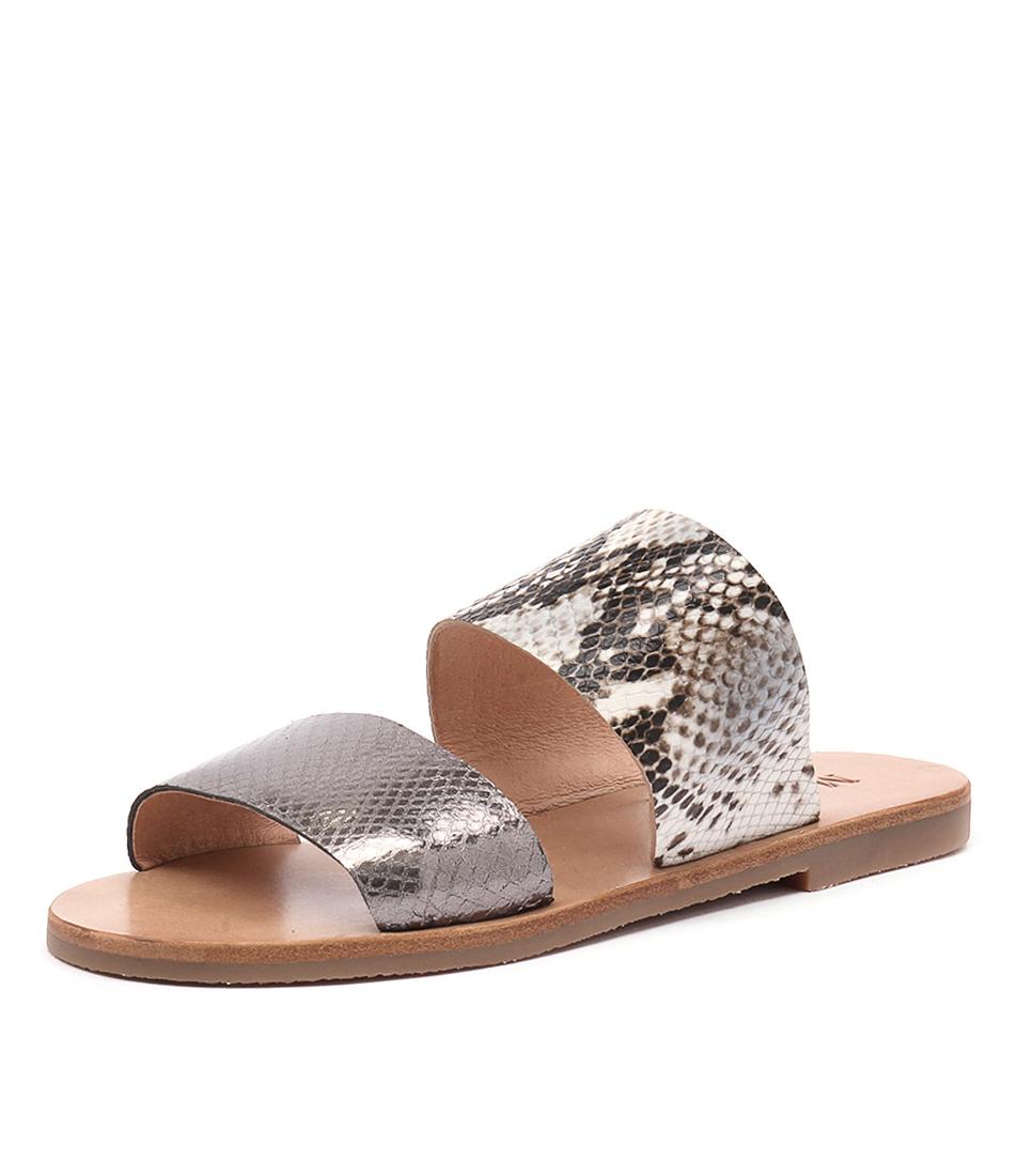 Mollini Elinga Pewter Snake-Smokey Snake Sandals