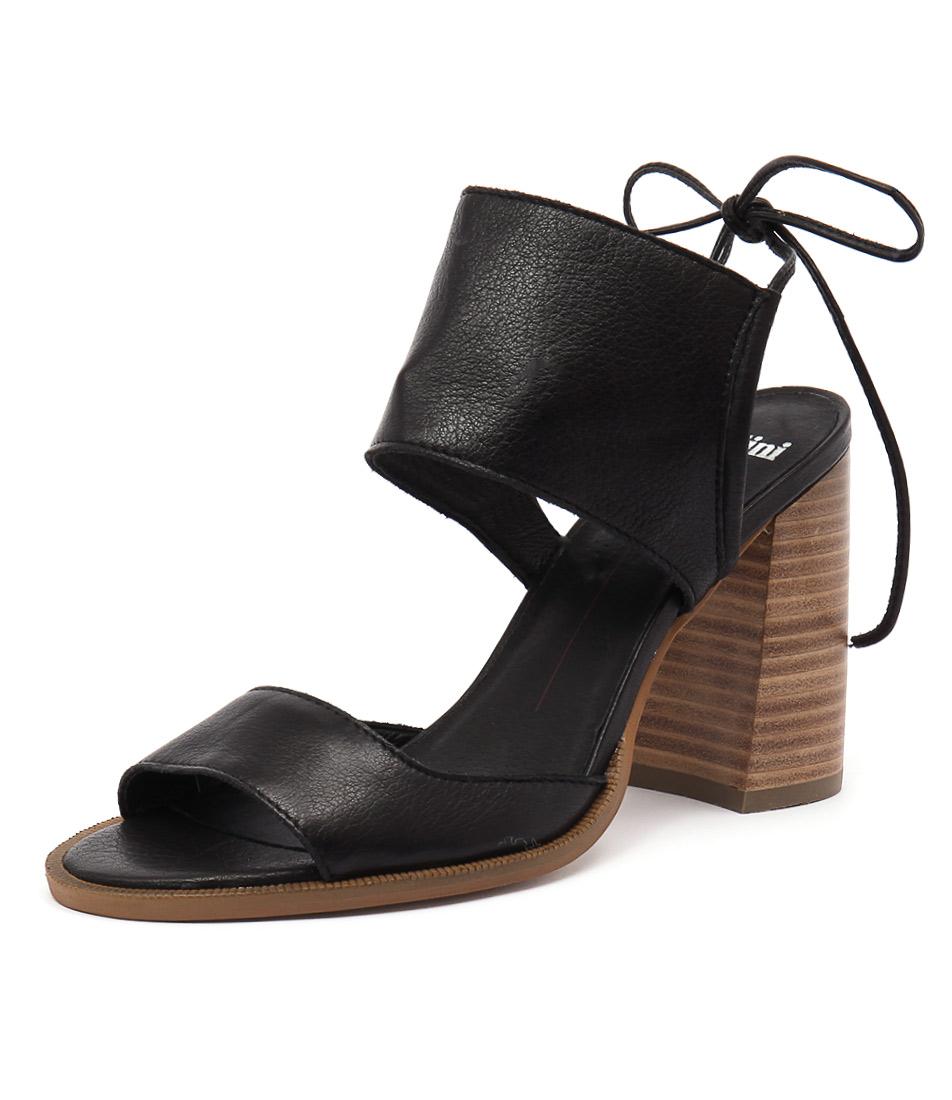 Mollini Mindy Black Leather-Natural Heel Sandals