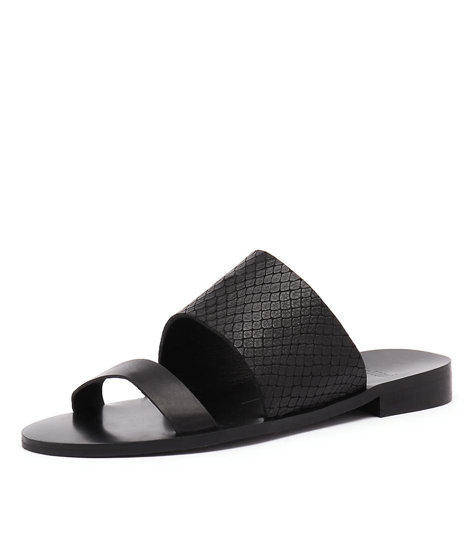Mollini Redley Black Leather-Black Snake Sandals online