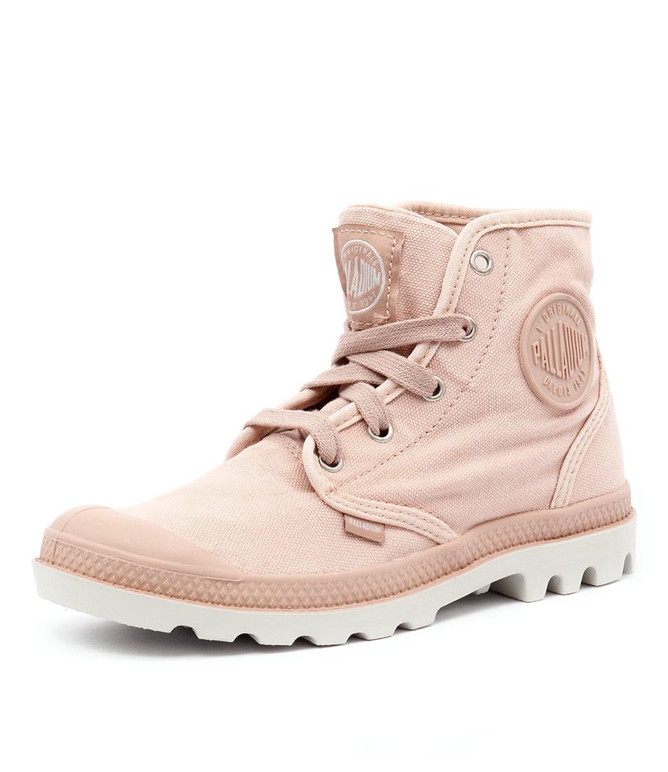 Palladium Pampa Hi Salmon Pink-Silver Birch Boots