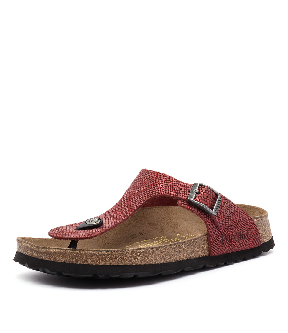 Papillio by Birkenstock Gizeh Embossed Python Red Sandals
