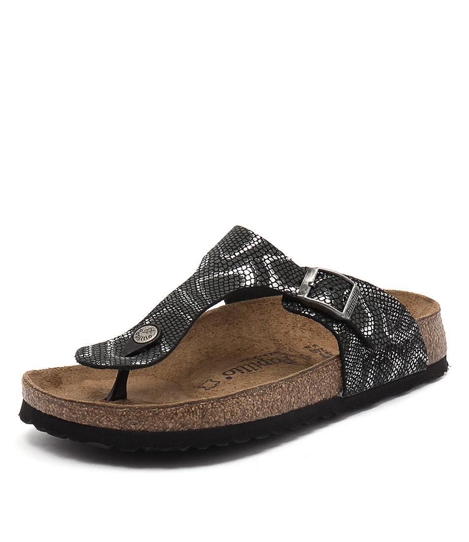 Papillio by Birkenstock Gizeh Embossed Python Black Sandals