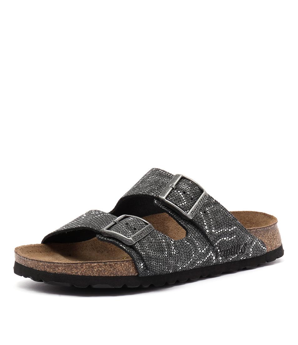Papillio by Birkenstock Arizona Embossed Python Black Sandals