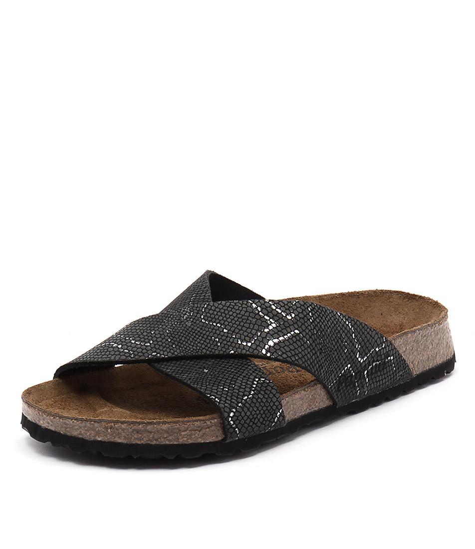Papillio by Birkenstock Daytona Embossed Python Black Sandals
