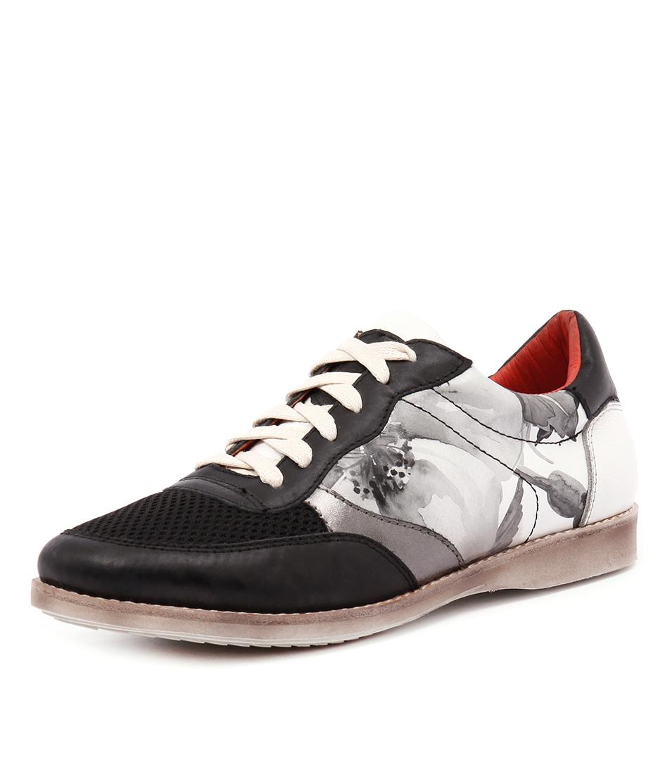 Rollie Trainer Black Flower Sneakers