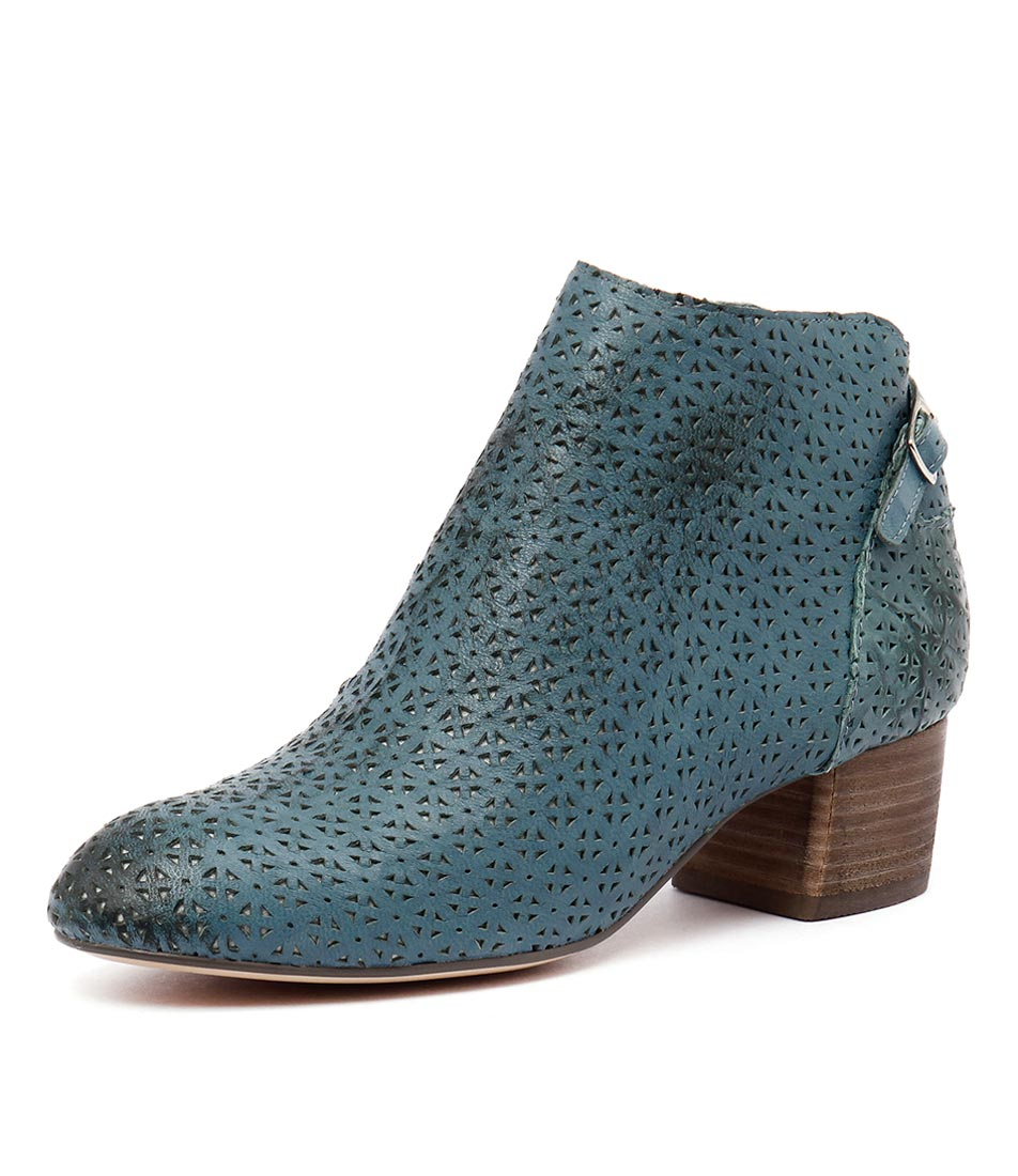 Silent D Emery Teal Leather Punch Boots