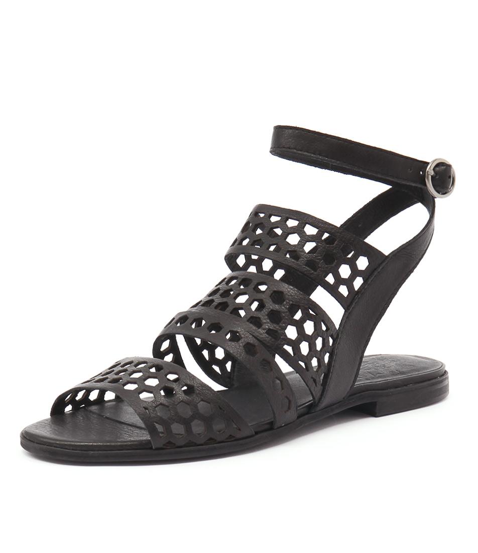 Silent D Monza Black Leather Sandals
