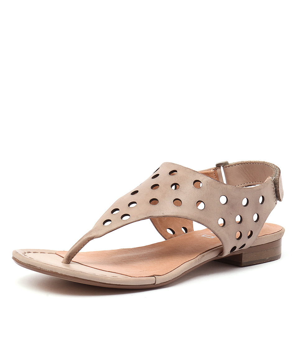 Silent D Queasy Nude Leather Sandals