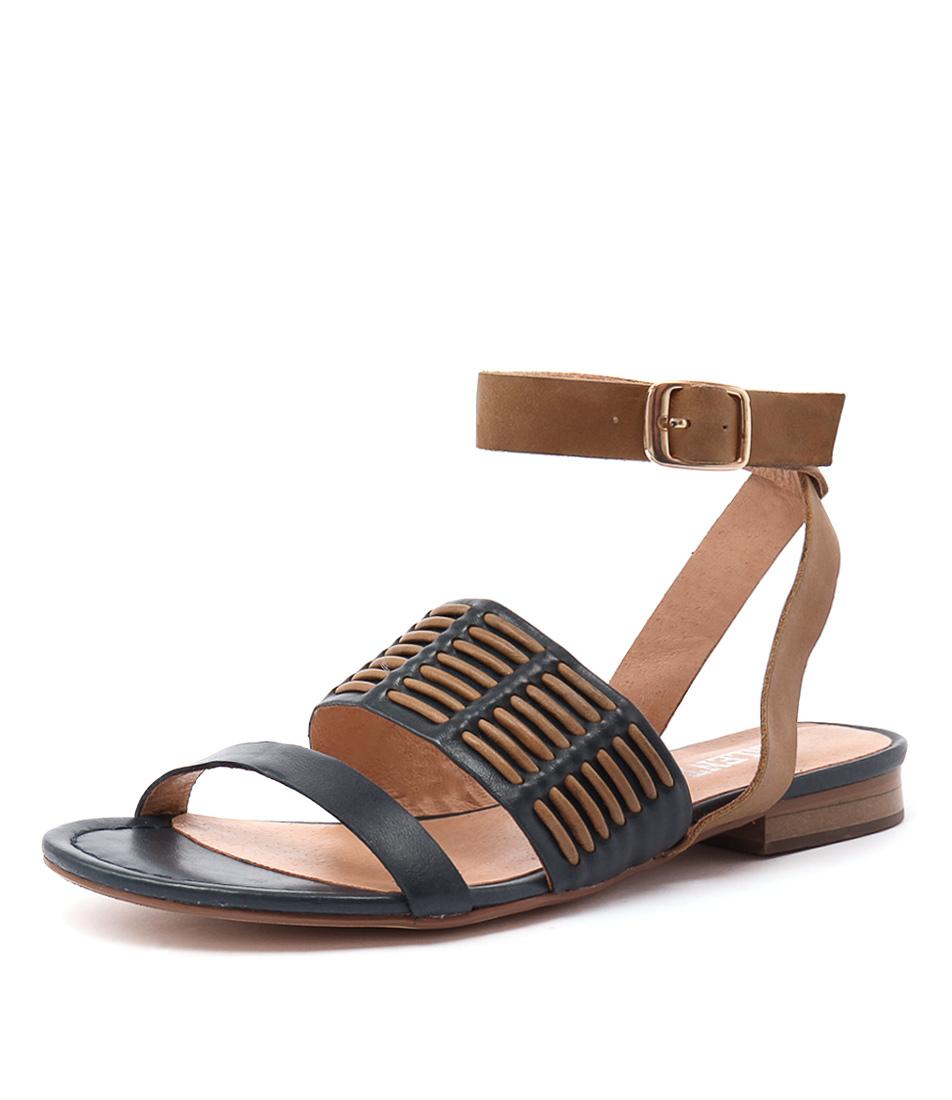 Silent D Quanda Navy-Tan Leather Sandals online