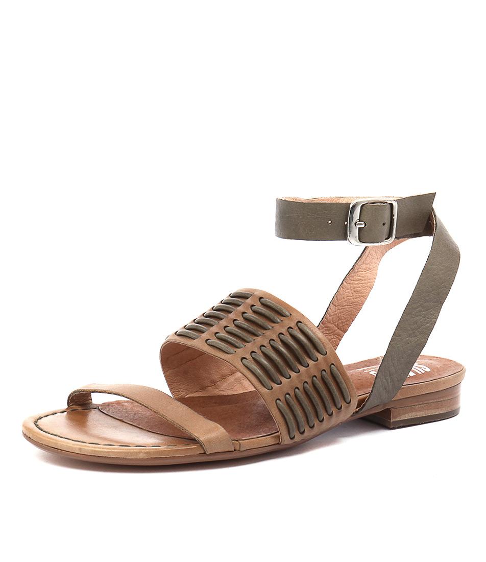 Silent D Quanda Tan-Olive Leather Sandals