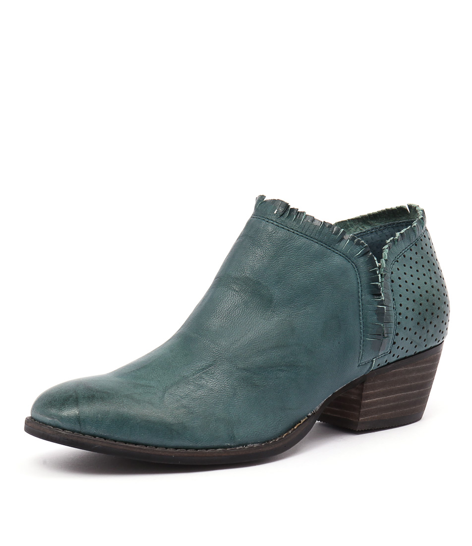 Silent D Ilana Teal-Teal Punched Boots