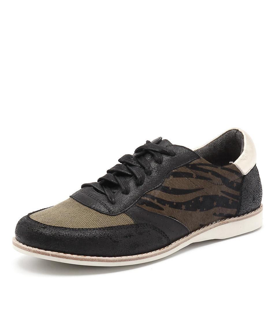 Silent D Ranita Black-Khaki Multi Sneakers