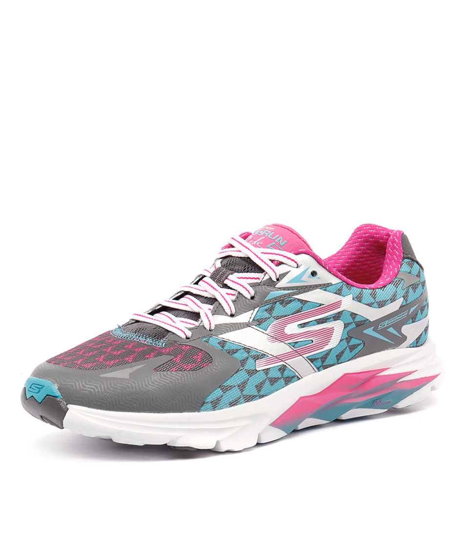 Skechers Go Run Ride 5 Charcoal-Blue-Pink Sneakers