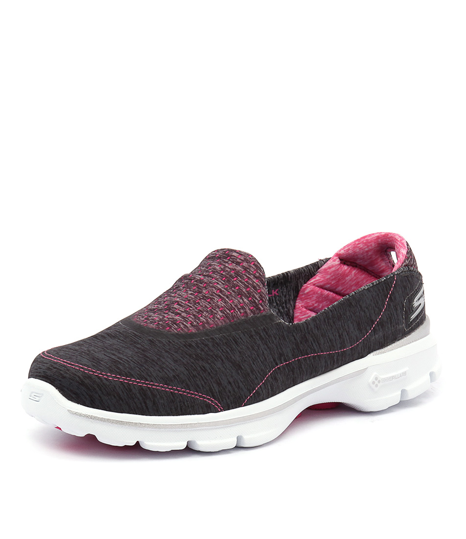 Skechers Go Walk 3 Elevate Charcoal-Pink Sneakers