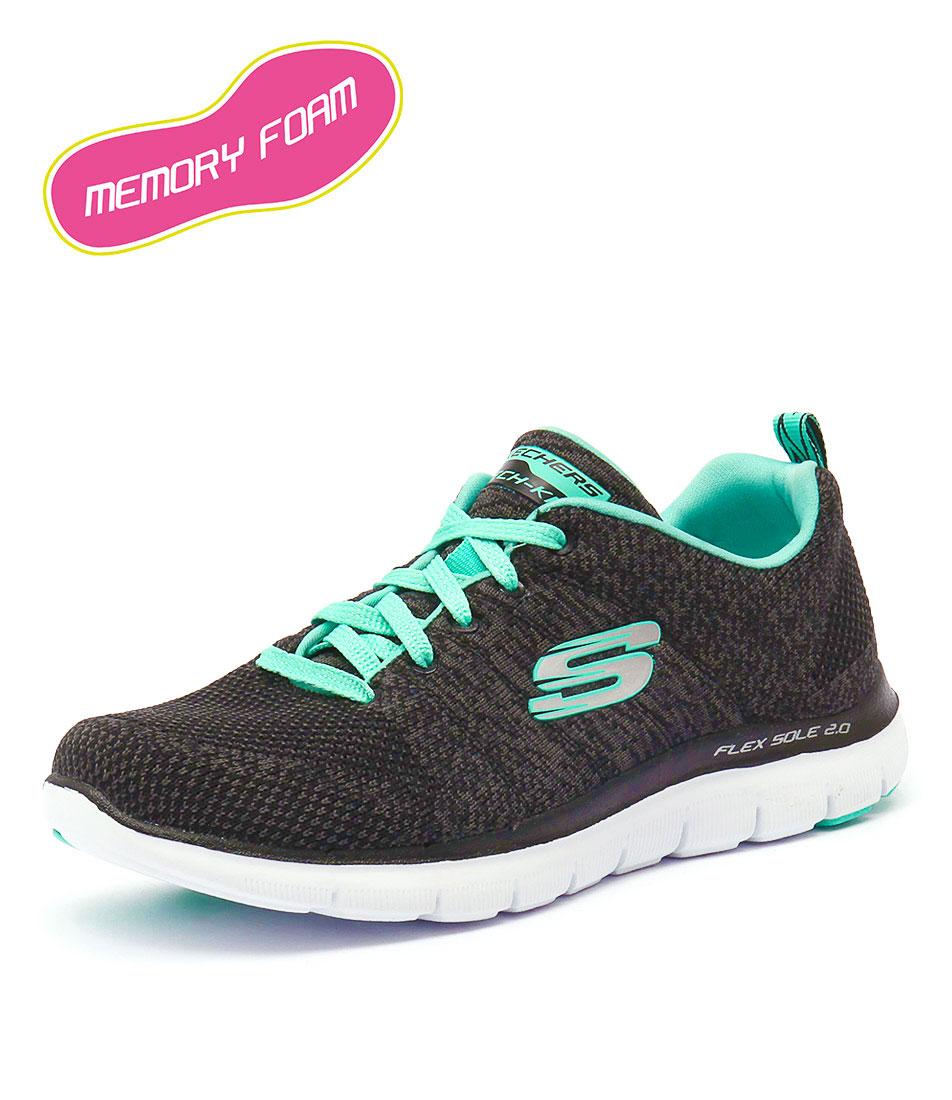 Skechers Flex Appeal 2.0 Black-Aqua Sneakers