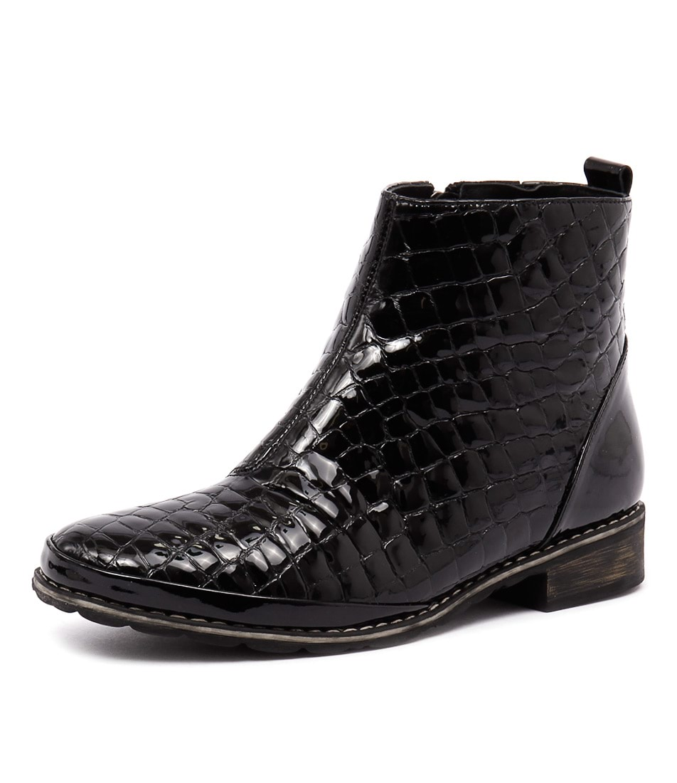 Stegmann Meltem Black Croc Patent Boots