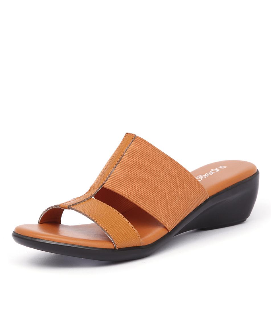 Supersoft by Diana Ferrari Lolly Orange Lizard Sandals