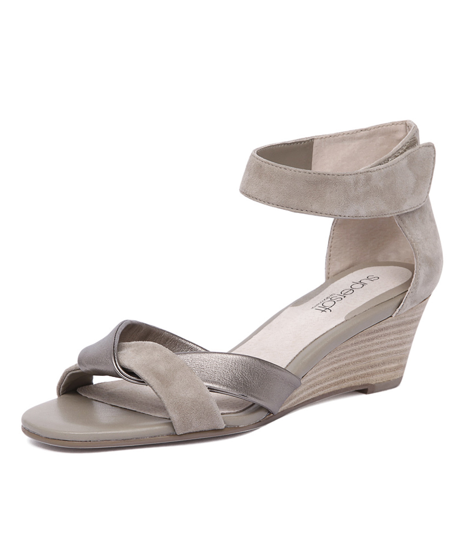 Supersoft by Diana Ferrari Kazi 2 Oatmeal Suede-Pewter Leather Sandals online