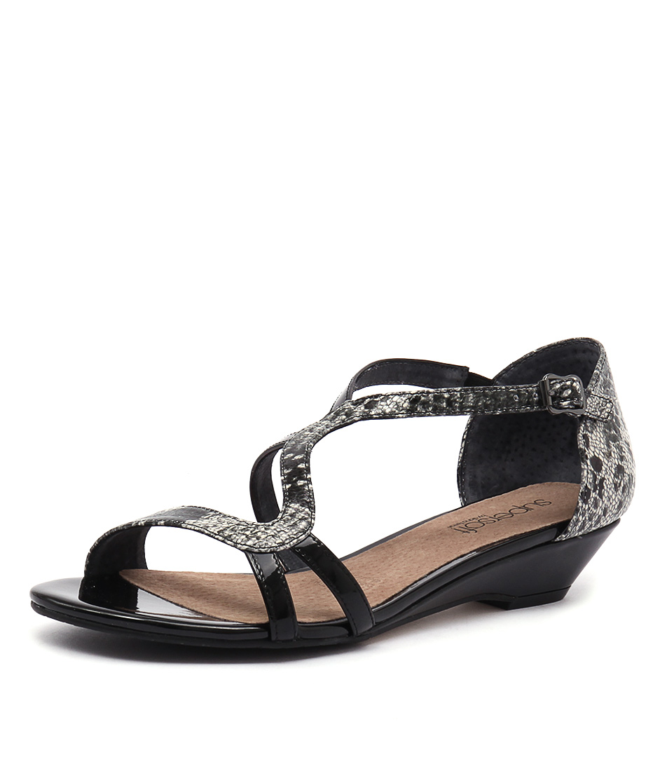 Supersoft by Diana Ferrari Billy Black Patent-Multi Snake Sandals