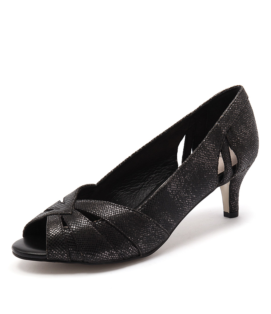 Supersoft by Diana Ferrari Genny Black Metallic Snake Dress Pumps