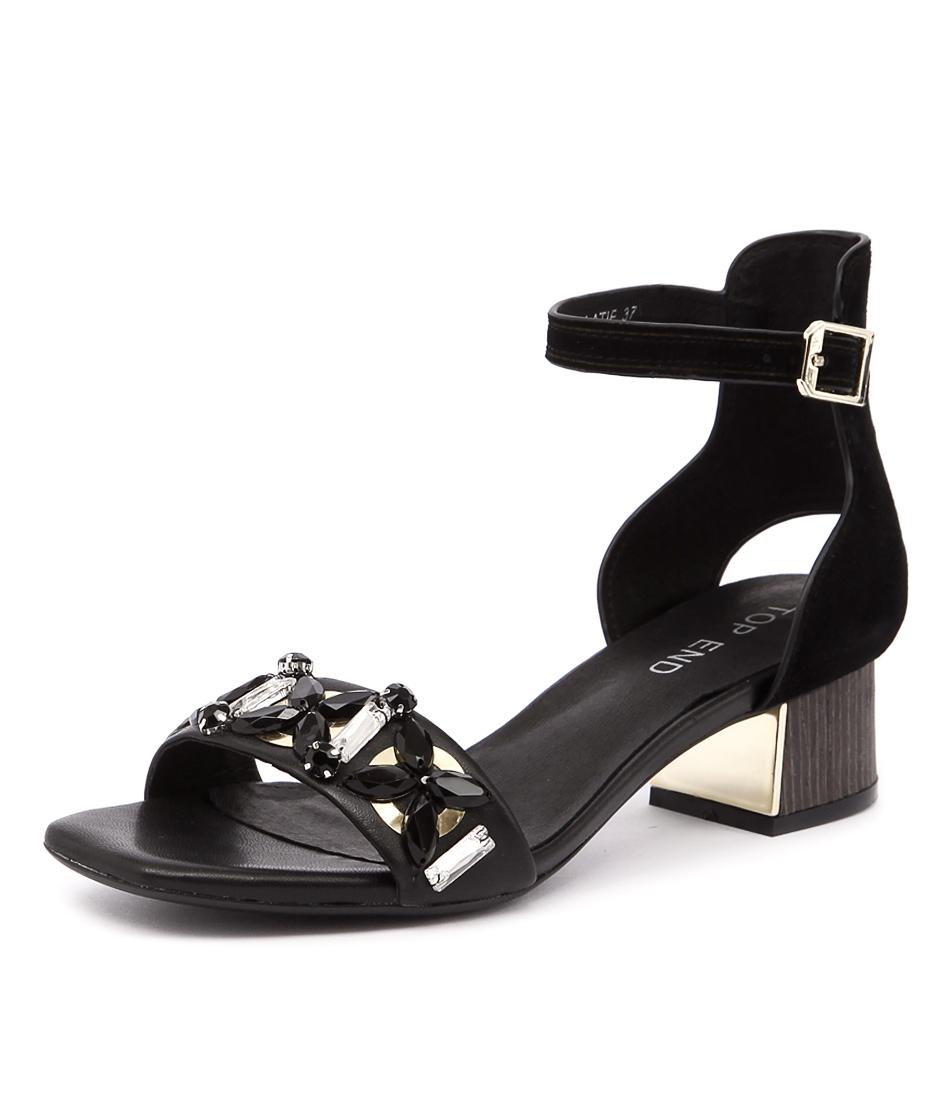 Top End Lolatie Black Leather-Black Suede Sandals