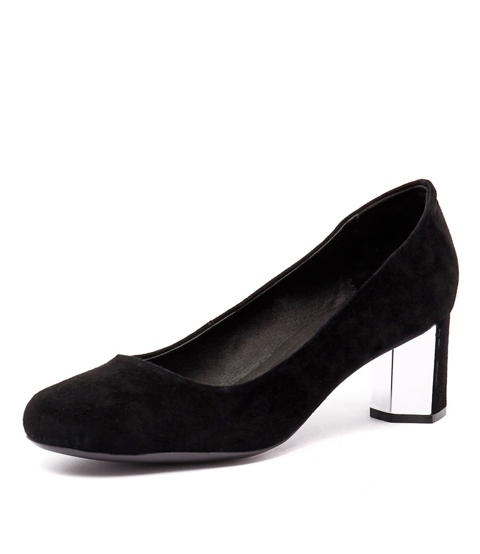 Top End Kabar Black Suede-Silver Suede Dress Pumps