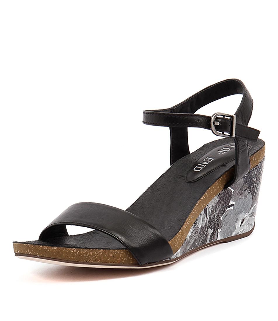 Top End Rollo Black-Black Flower Sandals