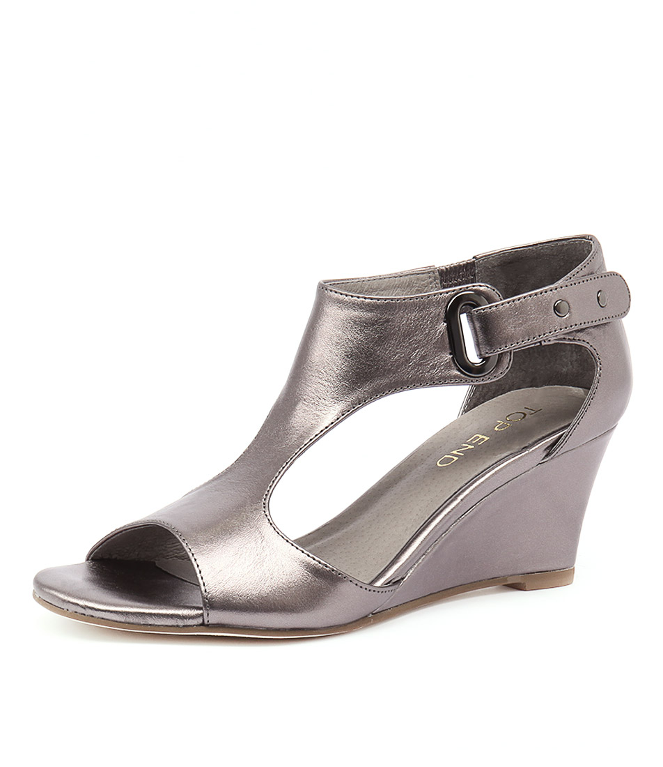 Top End Unico Pewter Leather Sandals