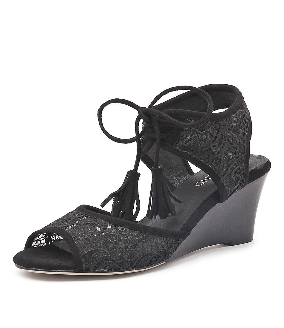 Top End Unison Black Lace-Black Sandals