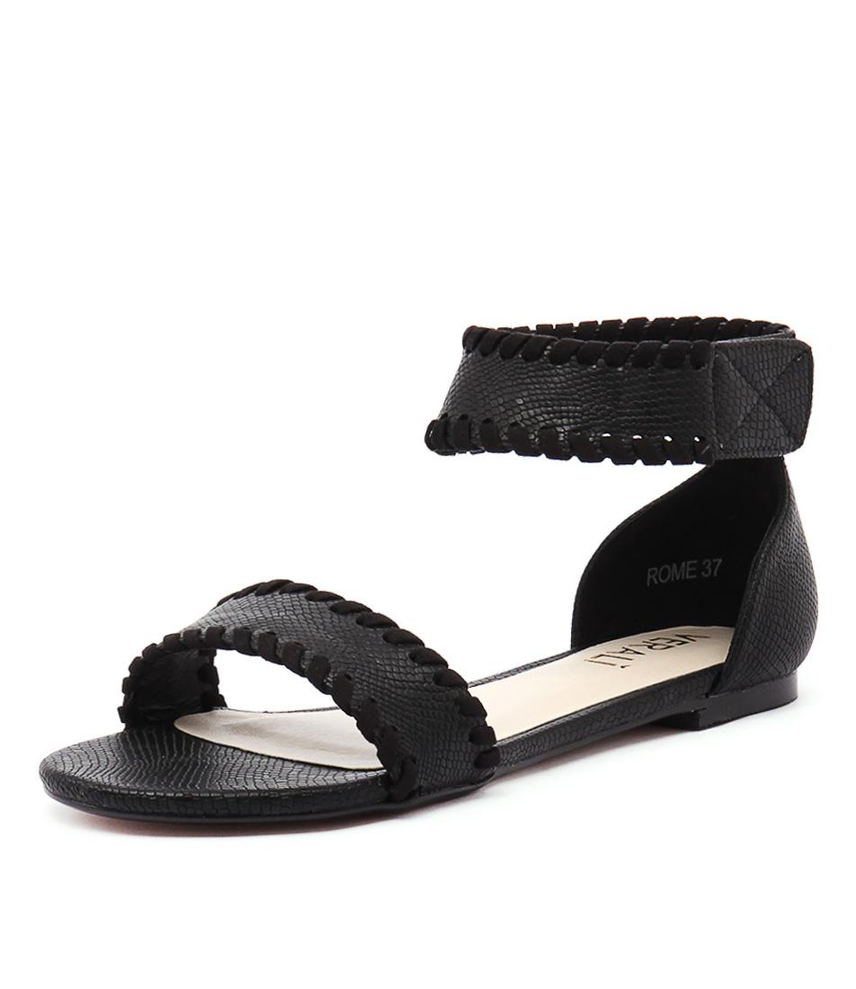 Verali Rome Black Snake Sandals