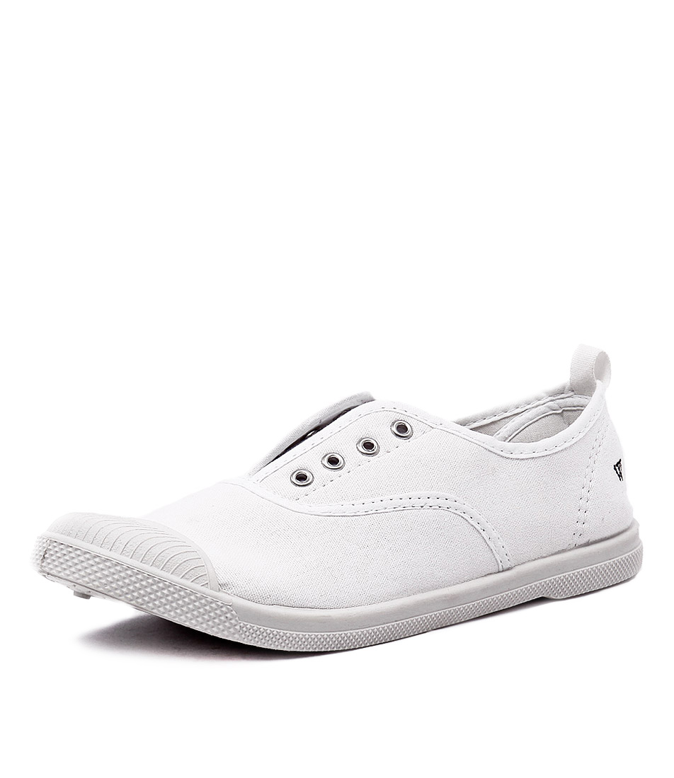 Walnut Melbourne Euro Elastic Plimsole White Sneakers
