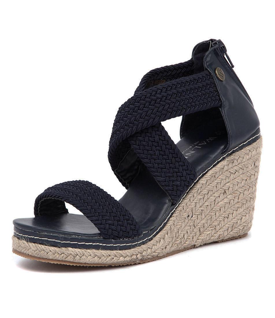 Walnut Melbourne Dusty Wedge Navy Sandals