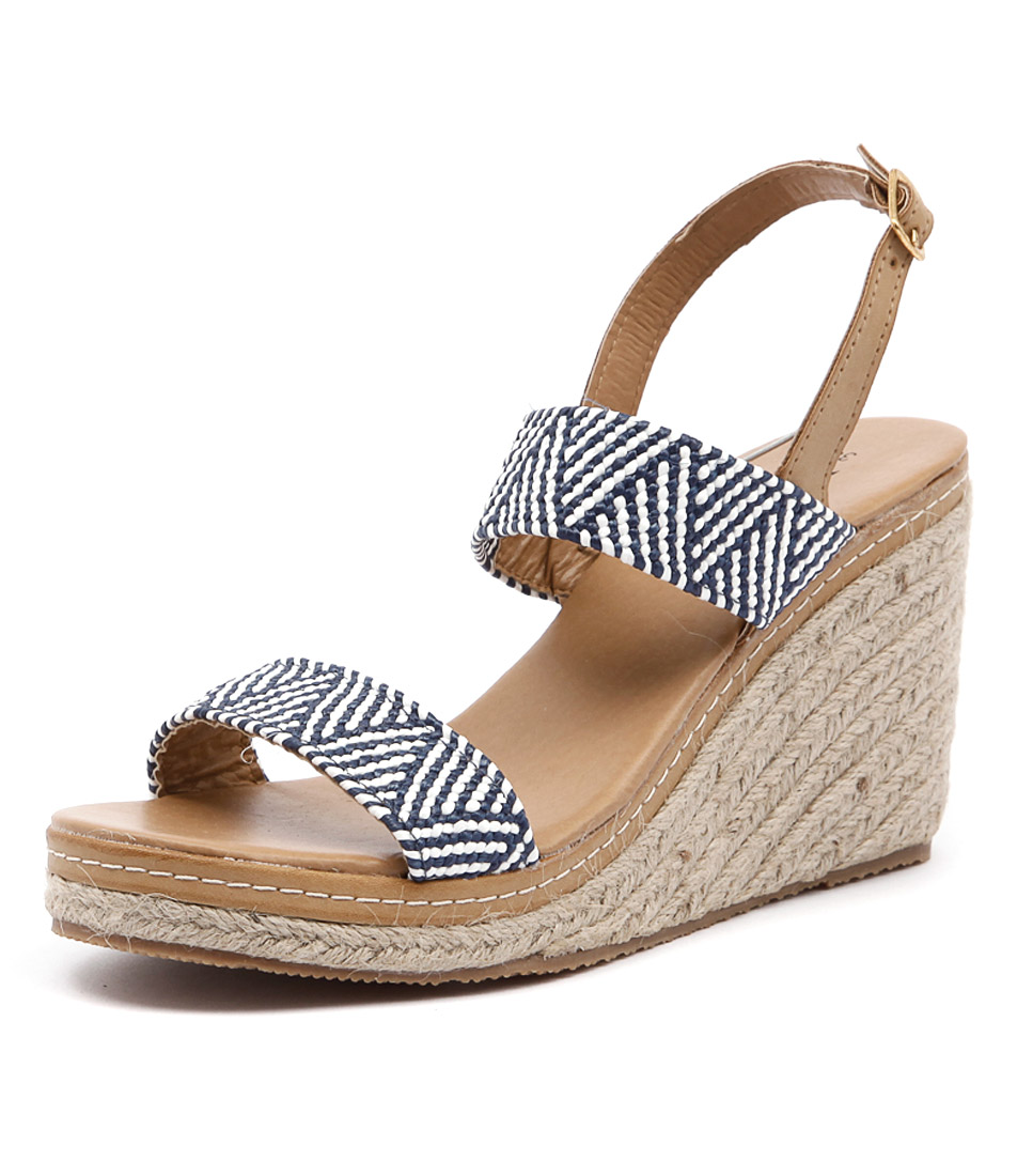Walnut Melbourne Cindy Strap Wedge Navy Sandals