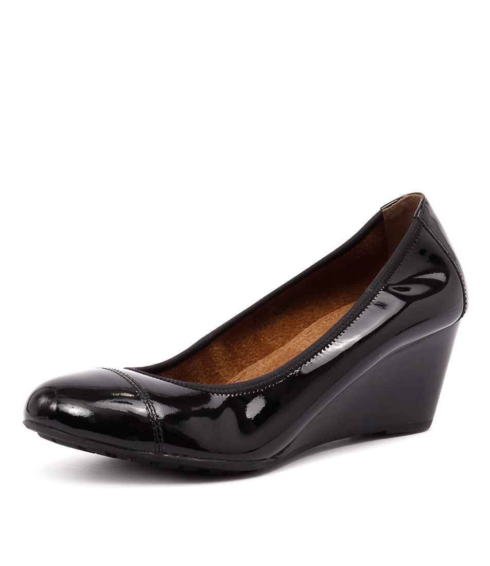 Walnut Melbourne May Wedge Black Patent Shoes