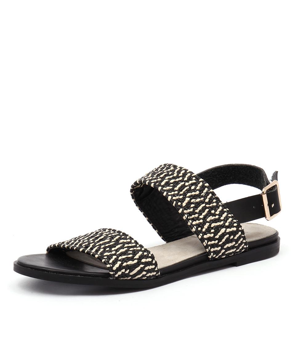 Walnut Melbourne Riva Black Combo Sandals