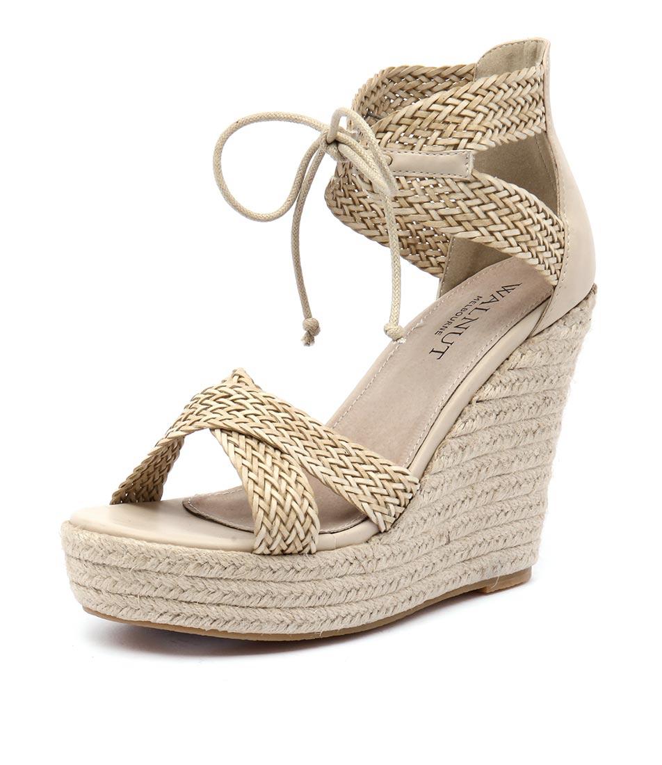 Walnut Melbourne Rio Wedge Straw Sandals
