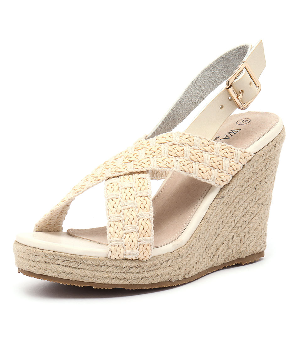 Walnut Melbourne Malibu Wedge Straw Sandals