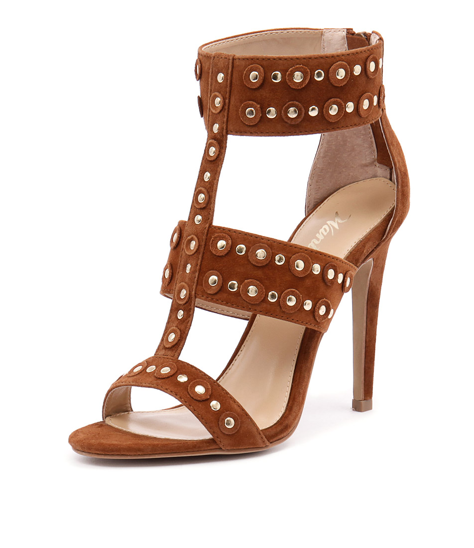 Wanted Salento Tan Suede-Gold Studs Sandals
