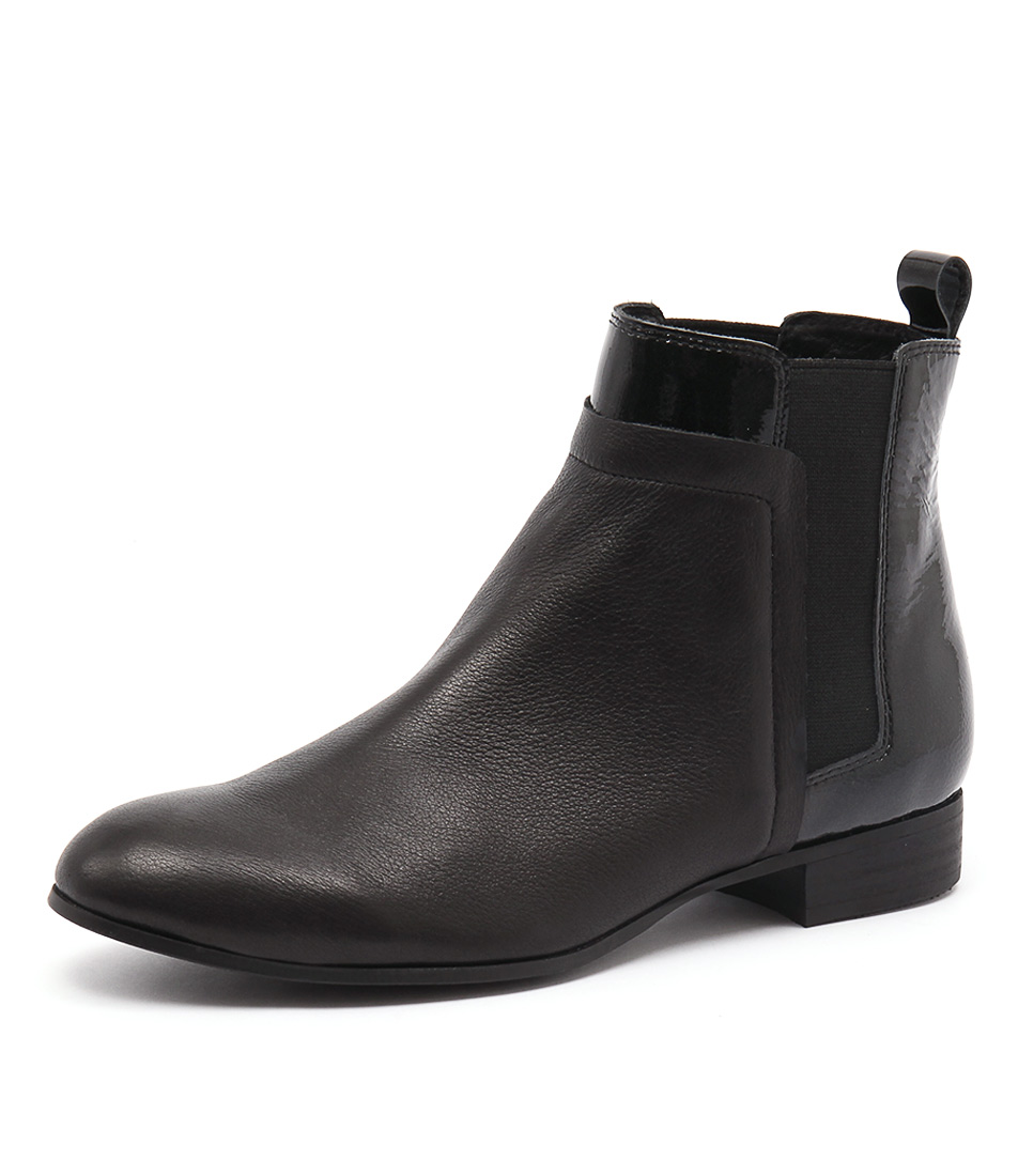 Django & Juliette Faday Black Leather Patent Boots