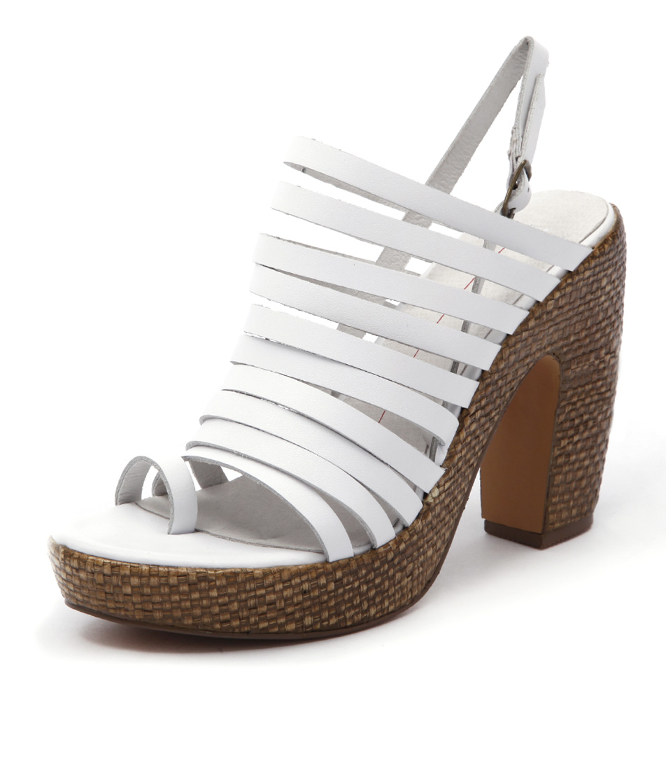 Mollini Denit White Choc Raffia Sandals